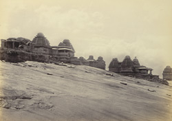 Ruins of Vijianuggur [Vijayanagara] near Humpee [Hampi]. General view of conical temples on [Hemakuta] hill
